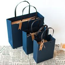 商务简ch手提袋服装tu钉礼品袋礼物盒子包装袋生日大号纸袋子