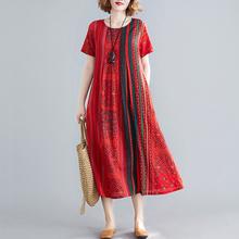 民族风ch古棉麻短袖tu夏季宽松大码显瘦条纹印花气质飘逸长裙