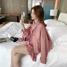 短式机车服(小)皮衣ch5套女士2tu季新式韩款矮个子收身粉色皮夹克