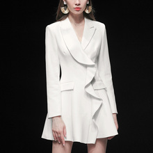 春装2ch20新式女le气质修身西装裙子收腰中长式薄式外套连衣裙