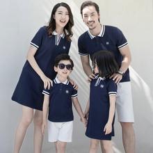 夏装全ch装潮一家三le装母女短袖幼儿园polo衫连衣裙子
