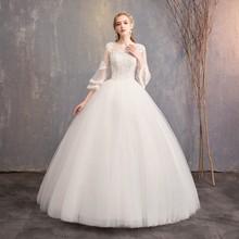 一字肩ch袖婚纱礼服yo0冬季新娘结婚大码显瘦公主孕妇齐地出门纱