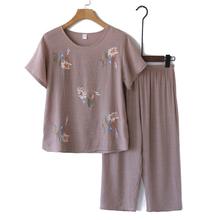 凉爽奶ch装夏装套装yo女妈妈短袖棉麻睡衣老的夏天衣服两件套