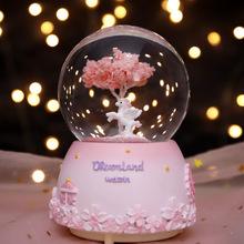 创意雪ch旋转八音盒ob宝宝女生日礼物情的节新年送女友