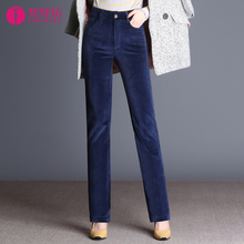 202ch秋冬新式灯co裤子直筒条绒裤宽松显瘦高腰休闲裤加绒加厚