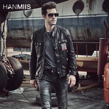 HANMch1IS英国ol皮皮衣男立领绵羊机车皮衣男植鞣单薄皮夹克