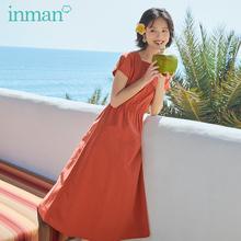 茵曼旗ch店连衣裙2is夏季新式法式复古少女方领桔梗裙初恋裙长裙