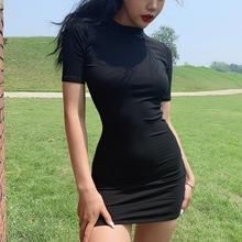 LIVchA 欧美性is基础式打底裙纯色螺纹弹力紧身包臀中袖连衣裙