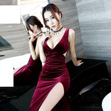 夜店长ch气质夜总会is女年会气场女王修身显瘦低胸性感连衣裙