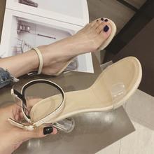 透明凉ch女夏季20is式罗马网红同式一字扣带水晶粗跟仙女高跟鞋