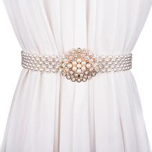 时尚百搭珍珠宽女士腰带ch8水钻装饰ai封 弹性松紧镶钻腰带女