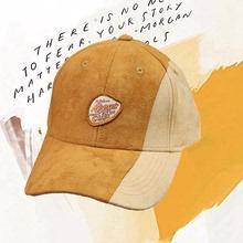 棒球帽ch女SHARuo新锐拼接趣味插画麂皮绒秋冬帽子情侣个性