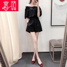 一字肩ch体裤女连体ng夏2021新式显瘦(小)个子阔腿连衣裤女短裤