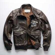 真皮皮ch男新式 Ang做旧飞行服头层黄牛皮刺绣 男式机车夹克