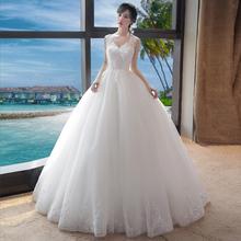 孕妇婚ch礼服高腰新tu齐地白色简约修身显瘦女主2021新式夏季