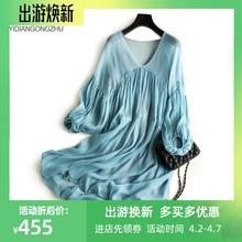 新款纯色宽松真丝连衣裙女