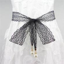 绳子女ch长方形网红ng子腰带装饰宽大汉服弹力潮时装裤链蕾丝