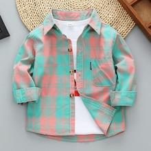 男童长袖衬衫纯棉薄款ch7装(小)童上ng套宝宝格子儿童衬衣夏秋