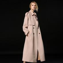 双面呢ch绒大衣20ti冬季新式女士双排扣加长式羊毛呢子加厚外套