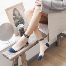 夏季超薄水晶丝袜女日系玻璃卡ch11冰晶短ti袜弹力女袜四双