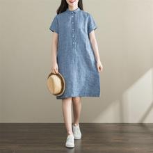 [chusnianti]复古文艺亚麻短袖衬衫连衣