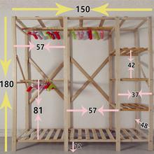 布衣柜ch易实木组装yu纳挂衣橱加厚木质柜原木经济型双的大号