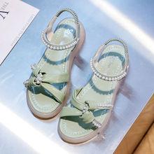 20凉鞋女夏外ch4ins2yt夏季新款时尚百搭仙女风蝴蝶结时装凉鞋