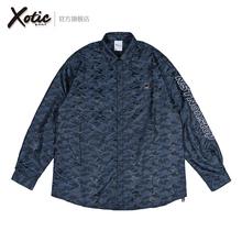 Xotcic官方 Nlionstop蓝黑迷彩衬衫原创男女秋冬式防晒长袖外套