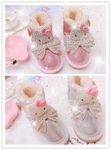 (小)多卡通kt猫ci偶儿童雪地li皮防水亲子款棉靴暖低筒靴