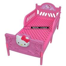 宝宝塑ci床幼儿园卡li男孩女孩午睡午休(小)床带护栏单的宝宝床