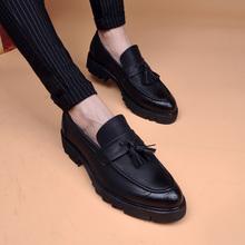 春式布ci克高跟流苏li头男皮鞋商务休闲潮鞋约会皮鞋男内增高