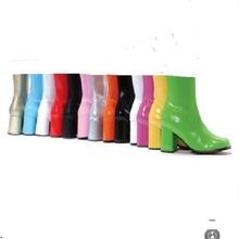 FF ciTUDIOsa高筒子新式显瘦百搭漆皮高跟中筒靴粗跟短