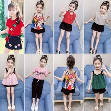 女童套ci夏季雪纺短16韩款女孩衣服中大童女装洋气夏装两件套