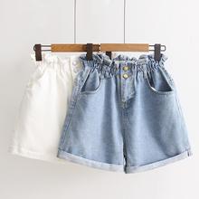 女装夏ci12-15ma生高腰牛仔短裤高中学生宽松a字裤
