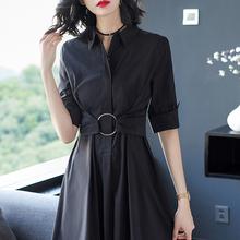 长式女ci黑色衬衣白da季大码五分袖连衣裙长裙2021年春秋式新
