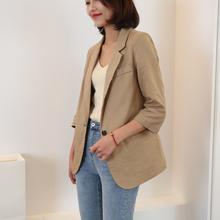 棉麻(小)ci装外套20da夏新式亚麻西装外套女薄式七分袖西装外套