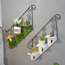 楼梯壁ci美式客厅花da置物架壁挂墙上盆栽娃娃架子挂钩装饰品
