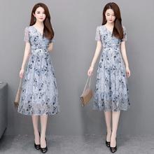 40岁ci气质年轻(小)da年妈妈夏装雪纺连衣裙高贵中老年女装新式
