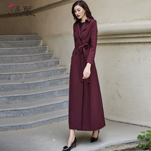 绿慕2ci21春装新je风衣双排扣时尚气质修身长式过膝酒红色外套