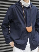 Labcistoreje日系搭配 海军蓝连帽宽松衬衫 shirts