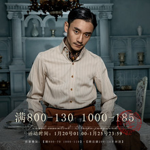 SOAciIN英伦风je式衬衫男 Vintage古着西装绅士高级感条纹衬衣