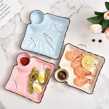子菜盘ci用带醋碟日iz寿司凉菜盘创意分格盘薯条点心盘