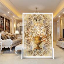 美式欧式屏风隔断客厅酒店卧室玄ci12实木座yc圣洁百合移动