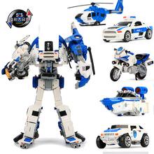 宝宝男ci合金变形玩yl合体正款模型汽车机器的飞机摩托警察车