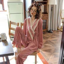 月子服ci秋棉产后产da喂奶衣怀孕期孕妇睡衣家居服套装秋冬