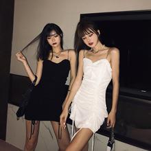丽哥潮ci抹胸吊带连da021新式紧身包臀裙抽绳褶皱性感心机裙子