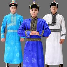 蒙古服ci男士蒙古袍da族舞台表演出服长式手工传统蒙族生活装