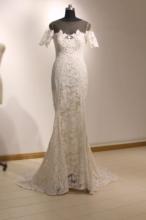 雪天使ci身定制新式da丝高腰原创设计简约一字肩鱼尾轻婚纱