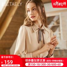 202ci秋冬季新式fl纺衬衫女设计感(小)众蝴蝶结衬衣复古加绒上衣