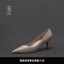 烫社交cj鞋杏裸色漆kn(小)高跟鞋职业工作ol气质百搭细中跟单鞋